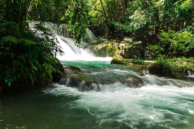 Huay mae khamin waterfall six level, paradise waterfall in tropical rain forest of thailand