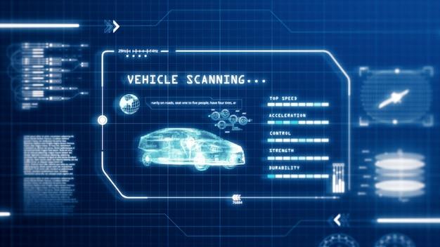 Hud conduite voiture vitesse écran de l'écran de l'ordinateur de l'interface utilisateur avec fond de pixels