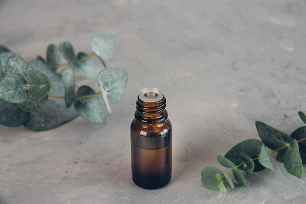 Huile essentielle d'eucalyptus et feuilles fraîches sur la planche de pierre. bannière.