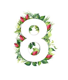 Huit 8 mars folle de feuilles, d'herbe, de fleurs de bouton de rose.