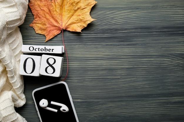 Huitième jour du calendrier du mois d'automne octobre avec espace de copie