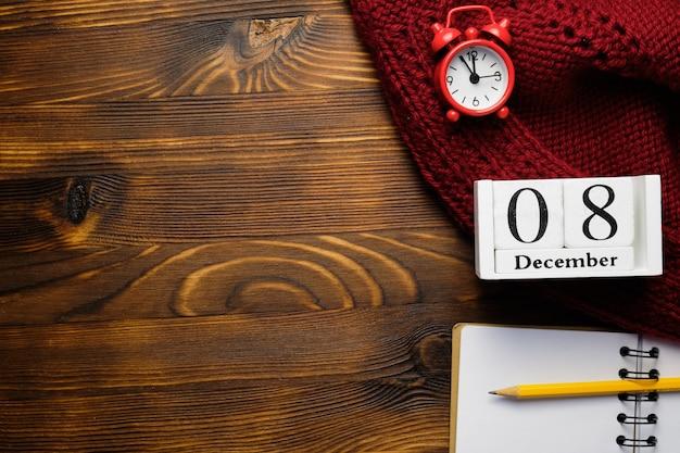 Huitième jour du calendrier du mois d'hiver décembre avec espace de copie.