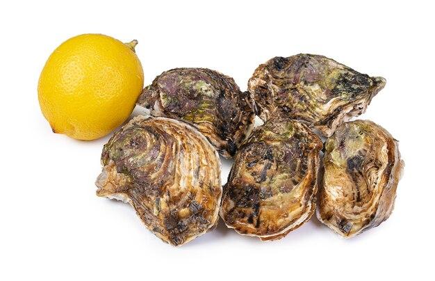 Huîtres fraîches isolées avec un citron isolé