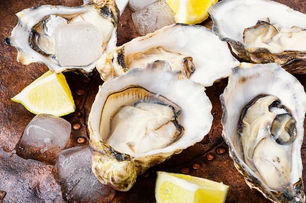 Huîtres ouvertes sur table rustique