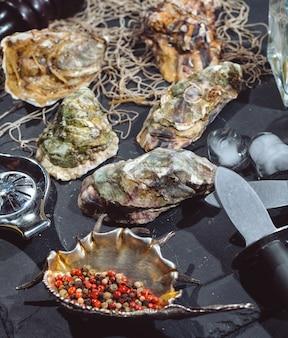 Huîtres sur plaque de pierre avec glace, citron, filet de pêche, poivre et couteau.
