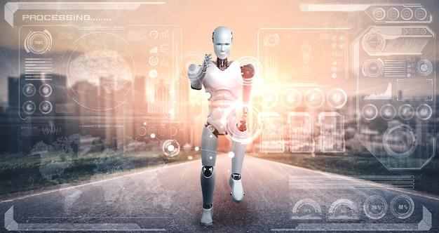 Humanoïde de robot en cours d'exécution montrant un mouvement rapide et une énergie vitale