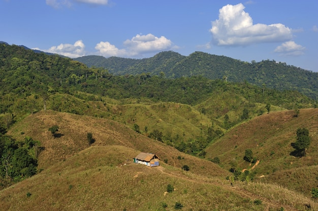Hutte de tradition sur la montagne dans la province de nan, au nord de la thaïlande