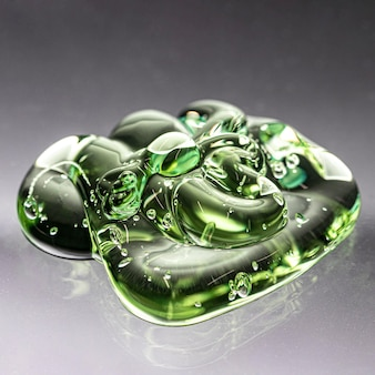 Hygiène verte texture gel propre vue haute