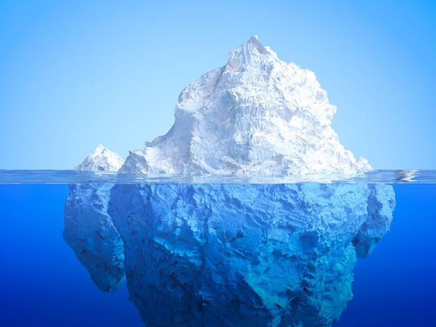 Iceberg de rendu 3d flottant sur l'océan bleu
