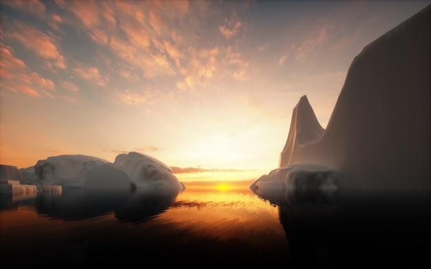 Icebergs au coucher du soleil. rendu 3d.