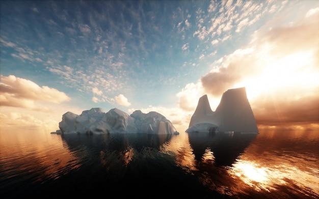 Icebergs dans l'océan calme. rendu 3d.