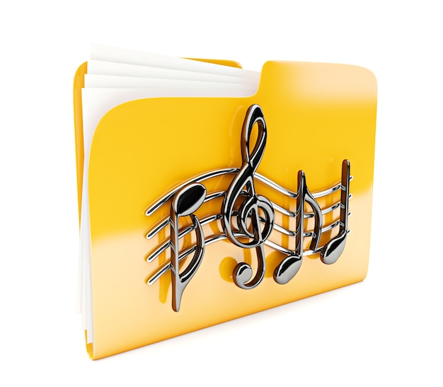 Icône 3d de dossier jaune avec des notes de musique isolées sur blanc