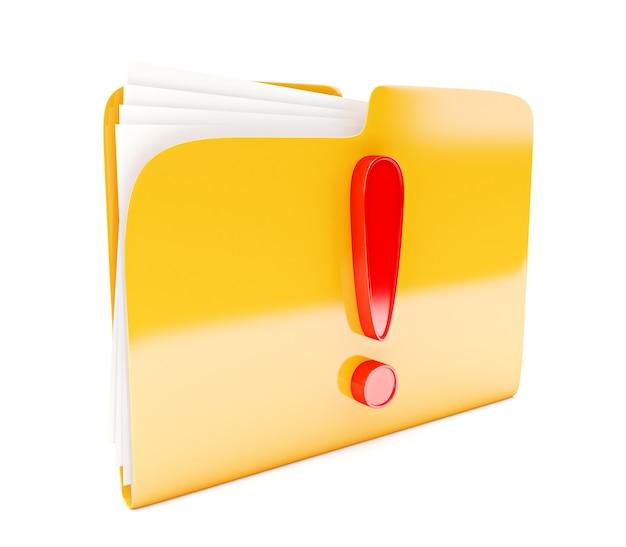 Icône 3d dossier jaune avec point d'exclamation rouge isolé sur blanc