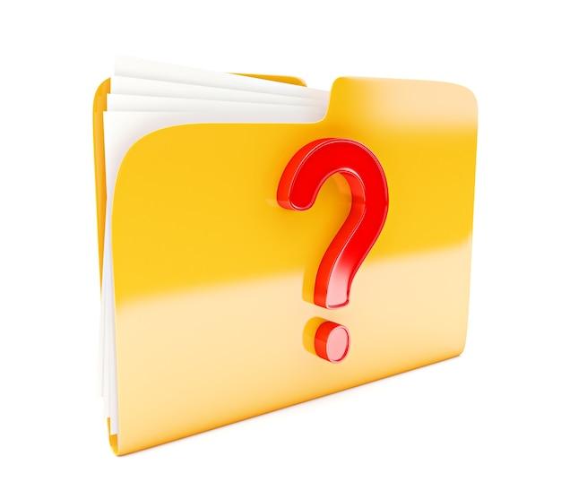 Icône 3d dossier jaune avec point d'interrogation rouge isolé sur blanc