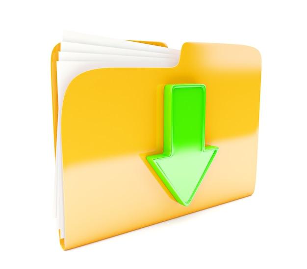 Icône 3d de dossier jaune avec signe de téléchargement flèche verte isolé sur blanc