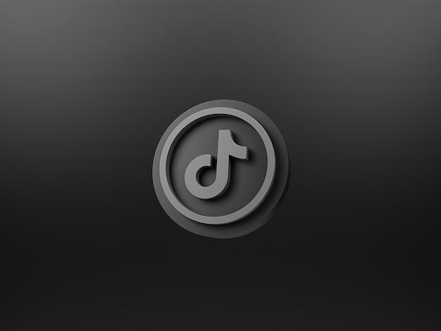 Icône 3d de tiktok sur fond sombre rendu 3d