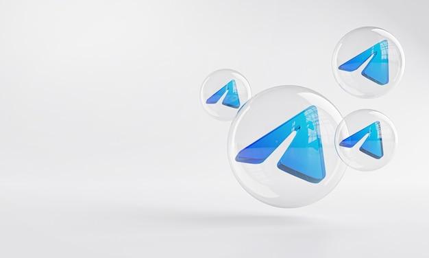 Icône acrylique télégramme à l'intérieur du verre bulle espace copie 3d