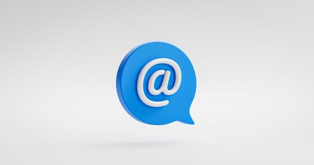 Icône d'adresse e-mail logo communication courrier ou symbole de message de contact de site web d'entreprise sur l'arrière-plan de la newsletter avec réception de la boîte aux lettres de support par e-mail rendu 3d.