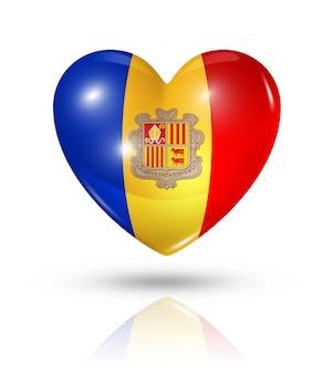 Icône d'amour drapeau andorre coeur