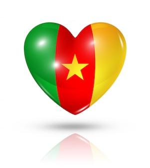 Icône d'amour drapeau cameroun coeur