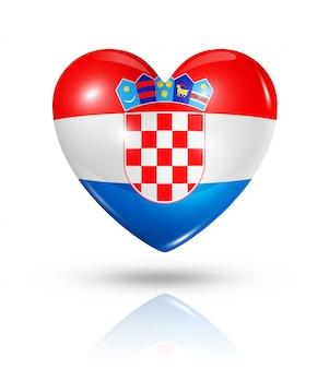 Icône d'amour drapeau croatie coeur