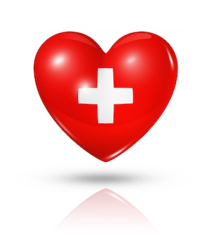 Icône d'amour drapeau suisse coeur