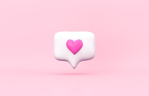 Icône d'amour de notification de médias sociaux 3d rose sur fond isolé.
