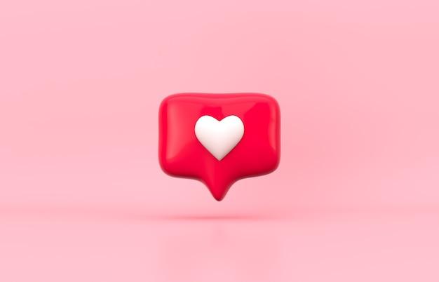 Icône d'amour de notification de médias sociaux 3d rouge sur fond isolé.
