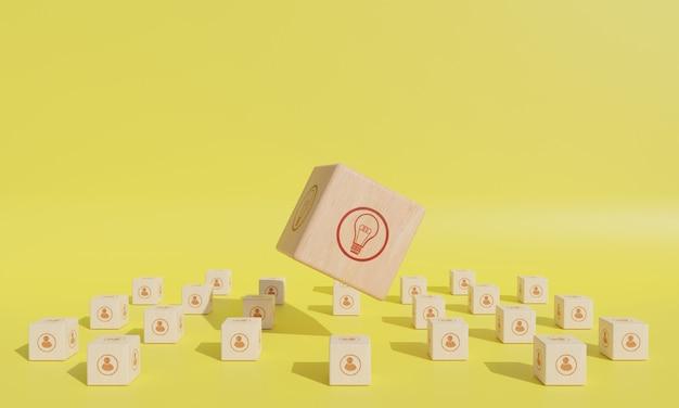 Icône ampoule et personnes sur bloc de bois. concept de travail d'équipe et de brainstorming, rendu 3d