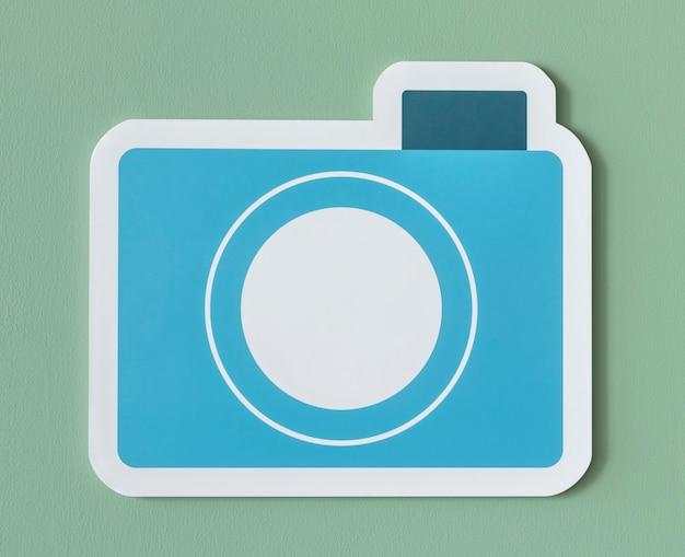 Icône d'appareil photo en papier bleu