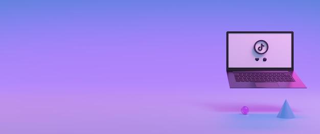 Icône de l'application tik tok sur l'écran d'ordinateur 3d