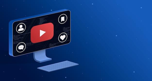 Icône d'application youtube sur l'écran d'ordinateur avec badges d'activité sociale 3d