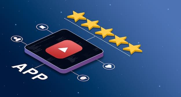 Icône d'application youtube avec une note de 5 étoiles et des badges d'activité sociale 3d