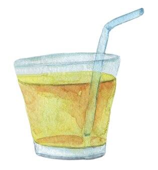 Icône aquarelle cocktail orange dessinés à la main isolé sur blanc