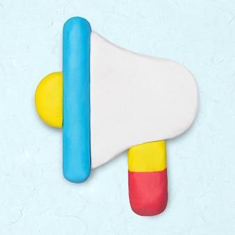 Icône d'argile de mégaphone mignon graphique artisanal de marketing fait main