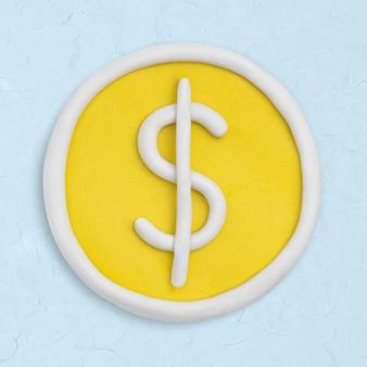 Icône d'argile de pièce de monnaie dollar mignon graphique artisanal de la finance à la main