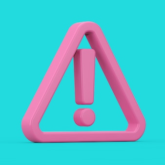 Icône d'avertissement, de danger ou de danger. point d'exclamation rose avec triangle en style duotone sur fond bleu. rendu 3d