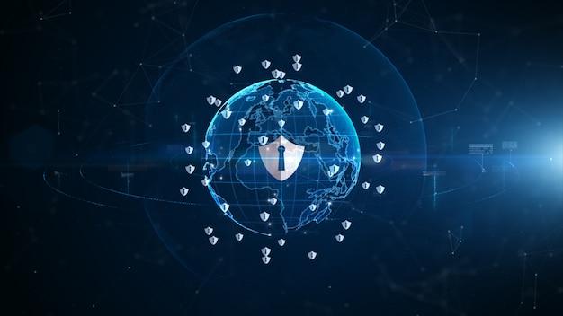 Icône de bouclier de cybersécurité, protection du réseau de données numériques, connexion de données de réseau numérique technologique, concept de fond futur du cyberespace numérique.