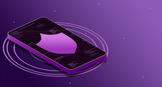 Icône de bouclier sur l'écran du téléphone avec des éléments de code, sécurité des données numériques 3d