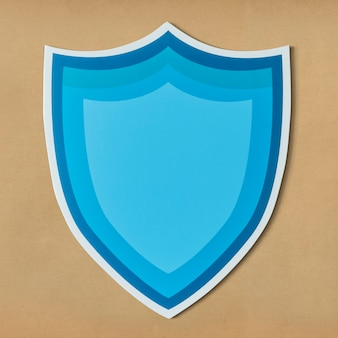Icône de bouclier de protection bleu isolé