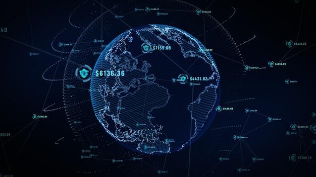 Icône de bouclier sur le réseau mondial sécurisé, réseau technologique et concept de cybersécurité.