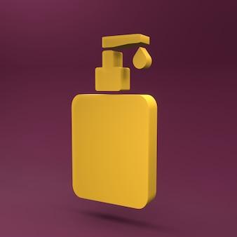 Icône de bouteille de désinfectant pour les mains 3d. illustration de rendu 3d de la bouteille de désinfectant pour les mains.
