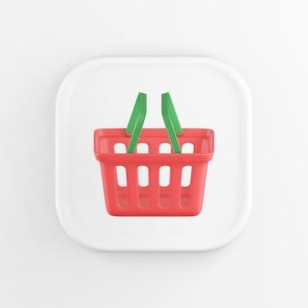 Icône de bouton blanc carré de rendu 3d, panier de supermarché rouge, isolé sur fond blanc.