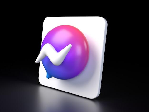 Icône de bouton cercle facebook messenger 3d premium photo rendu 3d des médias sociaux