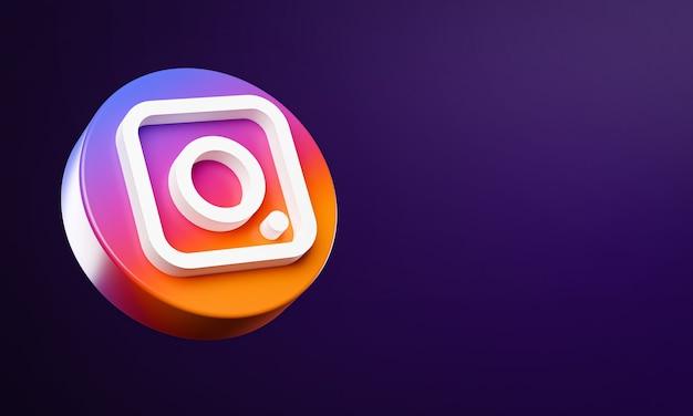 Icône de bouton cercle instagram 3d avec espace de copie