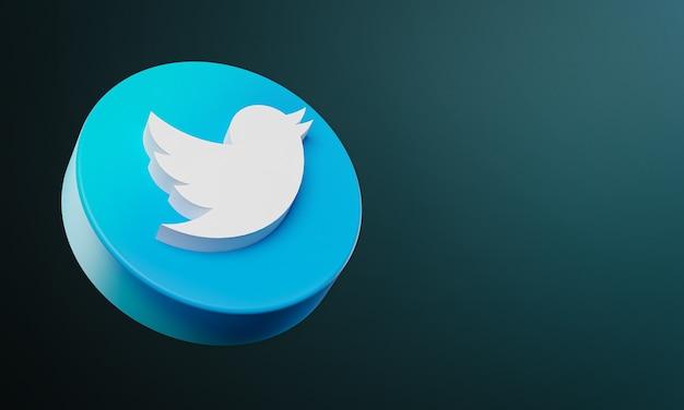Icône de bouton cercle twitter 3d avec espace de copie