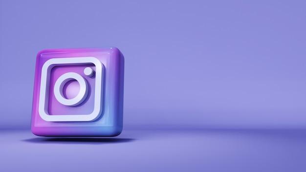 Icône de bouton logo instagram 3d avec espace de copie. rendu 3d