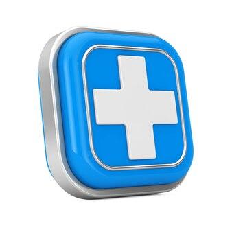 Icône de bouton médical de premiers secours sur un fond blanc. rendu 3d