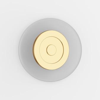 Icône de but d'or. rendu 3d bouton clé gris rond, élément d'interface ui ux.