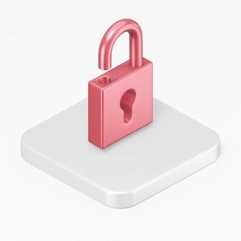 Icône de cadenas rouge ouvert de rendu 3d sur la touche de bouton carré blanc isolé sur fond blanc